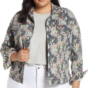 Lucky Brand 2X/2G Jacket Jean Coat Gray Floral